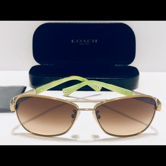 fb97adca8cf0 Coach Accessories | Caroline Sunglasses Pilot Gold Tortoise New ...